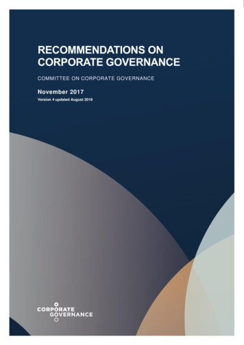 RECOMMENDATIONS ON CORPORATE GOVERNANCE