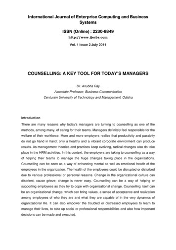 COUNSELLING: A KEY TOOL FOR TODAY'S MANAGERS