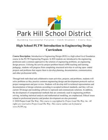 High School PLTW Introduction to Engineering Design Curriculum