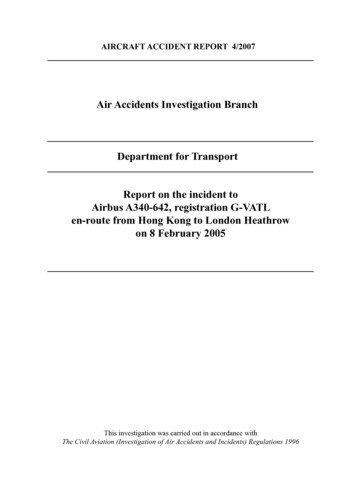 Air Accidents Investigation Branch Department for .