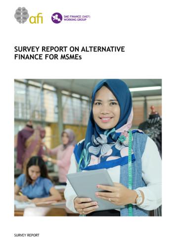 SURVEY REPORT ON ALTERNATIVE FINANCE FOR MSMEs