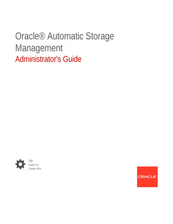 Management Oracle Automatic Storage Administrator's Guide