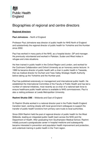 Biographies of regional and centre directors - GOV.UK