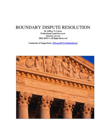 BOUNDARY DISPUTE RESOLUTION