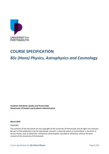 COURSE SPECIFICATION BSc(Hons)Physics, Astrophysics and .