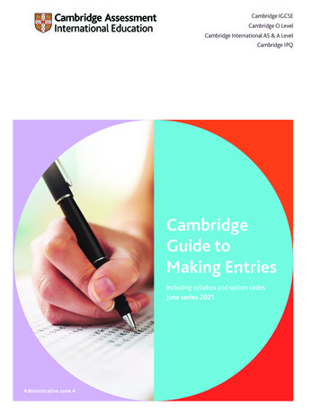 Cambridge Guide to Making Entries - British Council