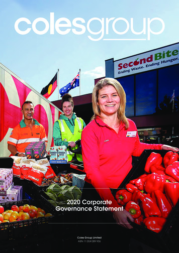 2020 Corporate Governance Statement - Coles Group