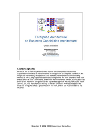 Enterprise Architecture as Business Capabilities Architecture