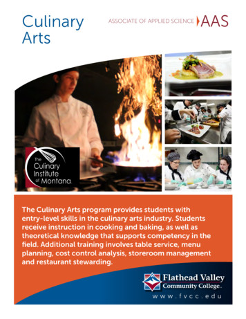 Culinary ASSOCIATE OF APPLIED SCIENCE AAS Arts