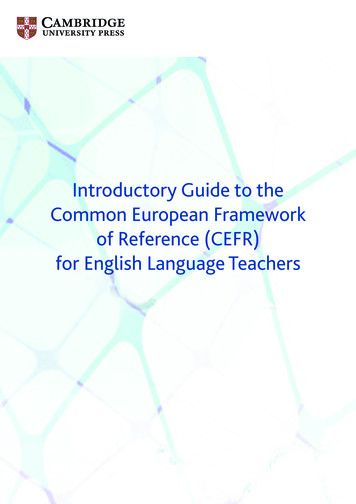 Introductory Guide to the Common European Framework of .