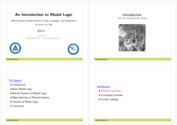 Introduction An Introduction to Modal Logic