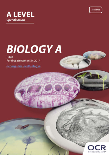 OCR A Level Biology A - H420 - Specification