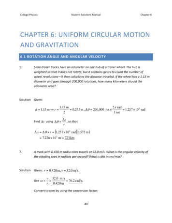 CHAPTER 6:UNIFORMCIRCULARM OTION ANDGRAVITATION