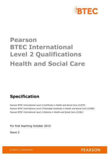 Pearson BTEC International Level 2 Qualifications Health .