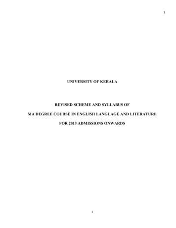 UNIVERSITY OF KERALA REVISED SCHEME AND SYLLABUS OF MA .