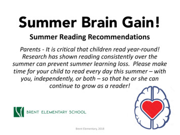 Summer Brain Gain! - BRENT ELEMENTARY SCHOOL
