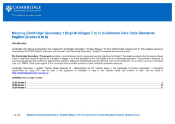Mapping Cambridge Secondary 1 English (Stages 7 to 9) to .
