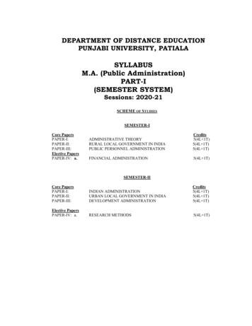 SYLLABUS M.A. (Public Administration) PART-I (SEMESTER SYSTEM)
