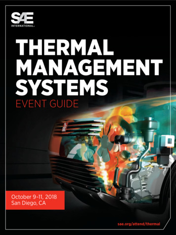 THERMAL MANAGEMENT SYSTEMS - SAE International