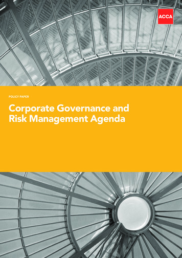 PoliCy PAPER corporate governance and risk Management Agenda