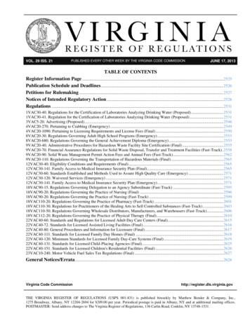 JUNE 17, 2013 VOL TABLE OF CONTENTS Register Information .