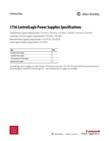 1756 ControlLogix Power Supplies Specifications Technical Data