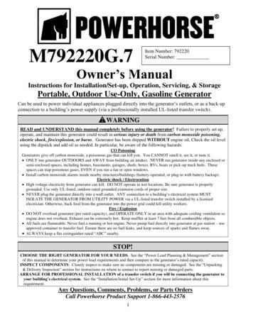 Manual for Powerhorse Generator - NorthernTool