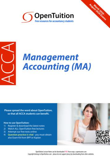 ACCA Management Accounting (MA) - OpenTuition