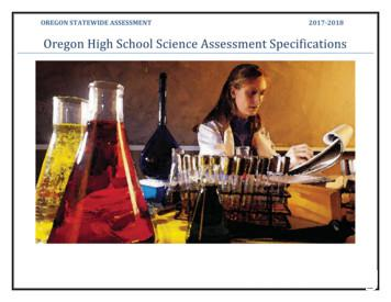 High School Science Test Specifications - Oregon