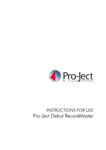 INSTRUCTIONS FOR USE Pro-Ject Debut RecordMaster