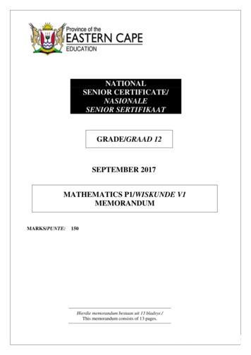 SEPTEMBER 2017 MATHEMATICS P1/WISKUNDE V1 MEMORANDUM