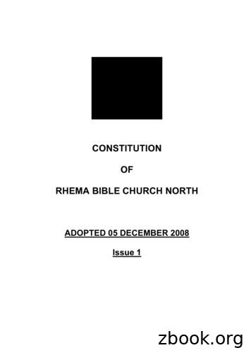CONSTITUTION OF RHEMA BIBLE CHURCH NORTH