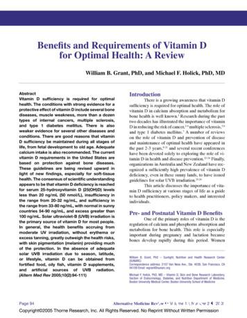 Benefits and Requirements of Vitamin D for Optimal Health .