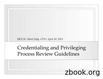 Credentialing and Privileging Process Review Guidelines
