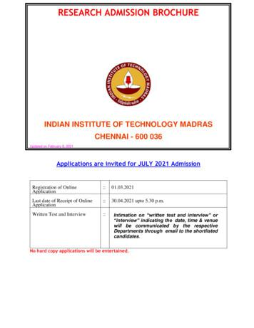 RESEARCH ADMISSION BROCHURE