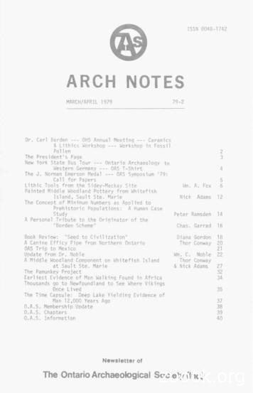 ARCH NOTES - Ontario Archaeological Society