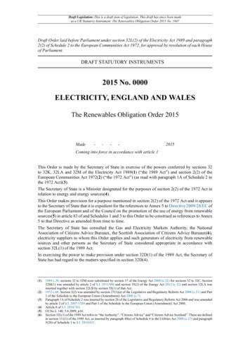 2015 No. 0000 DRAFT STATUTORY INSTRUMENTS ELECTRICITY .