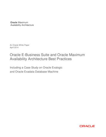 Oracle E-Business Suite and Oracle Maximum Availability .