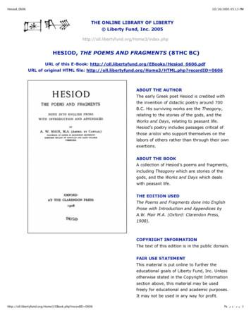 HESIOD, THE POEMS AND FRAGMENTS (8THC BC)