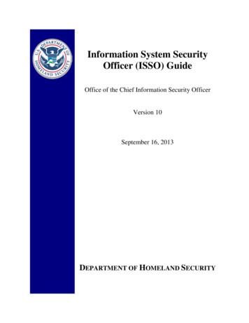 Information System Security Officer (ISSO) Guide