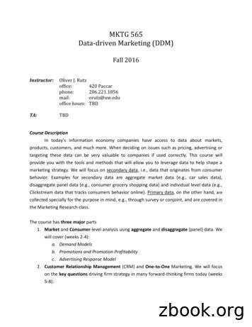 MKTG 565 Data-driven Marketing (DDM)