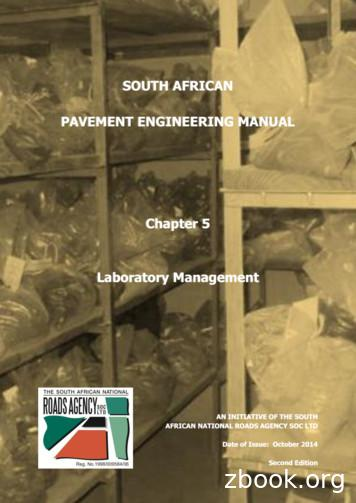 SOUTH AFRICAN PAVEMENT ENGINEERING MANUAL Chapter 5 .