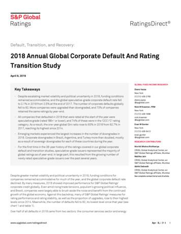 2018 Annual Global Corporate Default And Rating Transition .