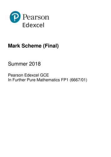 Mark Scheme (Final) - Pearson qualifications