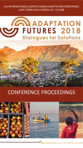 CONFERENCE PROCEEDINGS - Adaptation Futures 2018