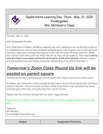 Digital Home Learning Day Thurs., May. 21, 2020 Mrs .