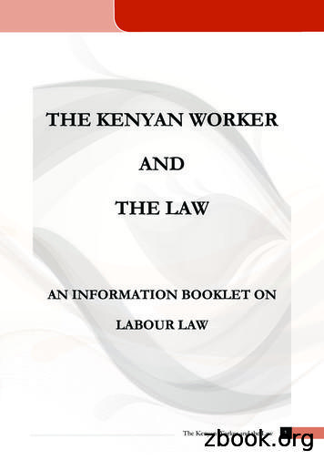 THE KENYAN WORKER AND THE LAW - Kituo Cha Sheria