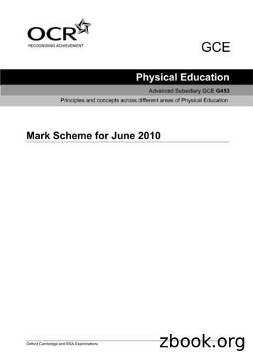 Mark Scheme for June 2010 - Bilton School A-Level PE