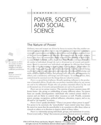 CHAP TER 1 POWER, SOCIETY, AND SOCIAL SCIENCE
