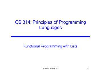 CS 314: Principles of Programming Languages